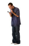 Full Body Detective. A full body view of a young detective wearing casual clothing stock photo