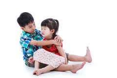 Full body. Elder brother is comforting his crying sister. Isolat. Full body. Elder brother is comforting his crying sister, girl sitting on lap and feel bad Stock Photos