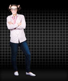 Full Body Female Business Nerd With Funny Smile Royalty Free Stock Photo