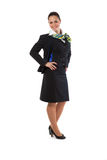 Full body flight attendant standing Royalty Free Stock Photo