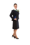 Full body flight attendant standing Stock Images