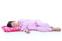 Full body. Healthy children concept. Asian girl sleeping peacefu Royalty Free Stock Images