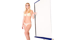 Full body lingery model presenting a white screen Stock Photo