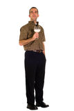 Full Body Man With Milk. A full body view of a man holding a glass of milk Stock Photo