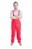 Full body of mechanic or plumber standing Stock Photos