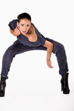 Full body mixed raced girl looking aggresive stock images