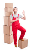 Full body of mover man in overall making swear gesture Royalty Free Stock Images