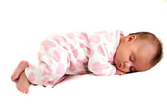 Full body photo of newborn baby peaceful and sleep Stock Photos