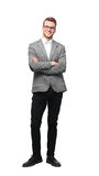 Full body picture of a business man with arms crossed on white background. Young Businessman Standing Smiling Full Body Length on Isolate White Background Stock Images