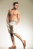 Full body picture of a shirtless man posing Royalty Free Stock Photos