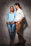 Full body picture of a young casual couple standing Royalty Free Stock Photo