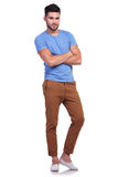 Full body picture of a young man with hands crossed. On white background Royalty Free Stock Image