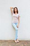 Full body portrait of beautiful female fashion model smiling Royalty Free Stock Image