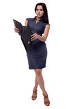 Full body portrait of business woman in dress surprised look with portfolio, briefcase, isolated on white Royalty Free Stock Photography