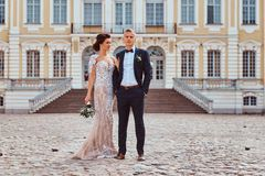 Portrait of happy newlyweds embracing against the backdrop of the facade of the beautiful old palace. Full body portrait of happy newlyweds embracing against royalty free stock photography