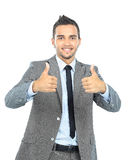 Full body portrait of happy smiling business Stock Photo