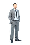 Full body portrait of happy smiling business man Stock Image