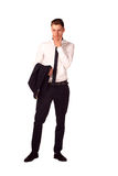 Full body portrait of happy smiling business man, isolated on wh Royalty Free Stock Images