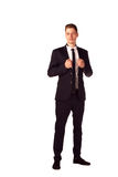 Full body portrait of happy smiling business man, isolated on wh Royalty Free Stock Photos