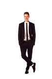 Full body portrait of happy smiling business man, isolated on wh Royalty Free Stock Photography
