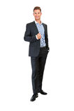 Full body portrait of happy smiling business man Stock Photo