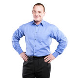 Full body portrait of happy smiling business man, isolated Royalty Free Stock Images