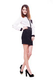 Full body portrait of happy smiling business woman, isolated on. White background Royalty Free Stock Image