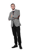 Full body portrait of happy smiling young business man, isolated Royalty Free Stock Photo