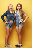 Full body portrait of two  hipster girls over yellow background Stock Images