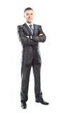 Full body portrait of young happy smiling cheerful business man Stock Image