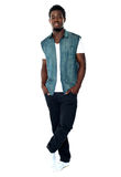 Full body pose of young african male model Royalty Free Stock Photo