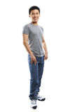 Full body pose of young fitness Asian man Stock Photography