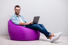 Free Full Body Profile Photo Of Funny Guy Holding Notebook Browsing Chatting Colleagues Sitting Comfy Soft Armchair Wear Stock Image - 165817521