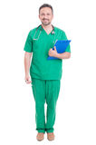 Full body of proud doctor or medic standing. Smiling  on white studio background Stock Images
