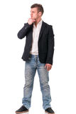Full body shot of attractive young man with jacket Stock Photo