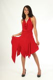 Full body shot beautiful young woman in red dress Stock Images