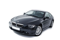 Full body shot of a black modern powerful coupe Stock Images