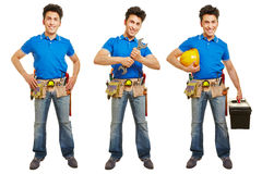 Full body shot of handyman or artisan. In different versions isolated on white background stock image