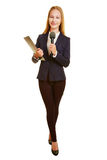 Full body shot of woman as reporter Royalty Free Stock Images