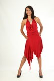 Full body shot of young beauty in red dress Stock Photos