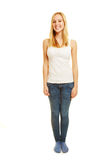 Full body shot of young blonde woman Royalty Free Stock Photography