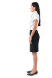 Full body side view of beautiful Asian young woman stock photos