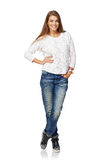 Full body smiling woman Royalty Free Stock Photos