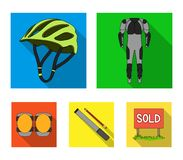 Full-body suit for the rider, helmet, pump with a hose, knee protectors.Cyclist outfit set collection icons in flat. Style vector symbol stock illustration Royalty Free Stock Image