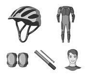 Full-body suit for the rider, helmet, pump with a hose, knee protectors.Cyclist outfit set collection icons in. Monochrome style vector symbol stock Royalty Free Stock Photography