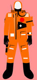 Full body survival suit. With communicator unit vector graphic Stock Photo