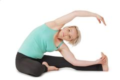 Yoga woman green position_118 Royalty Free Stock Photos