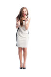 Full body of a woman screaming Royalty Free Stock Image