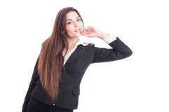 Full body of young business woman leaning  and resting elbow Royalty Free Stock Photo