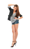 Full body young fashionable beautiful brunette woman casual clot Royalty Free Stock Image